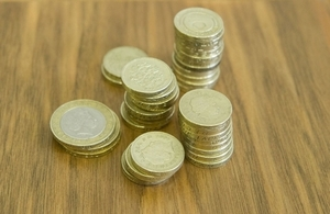 Coins on a table.