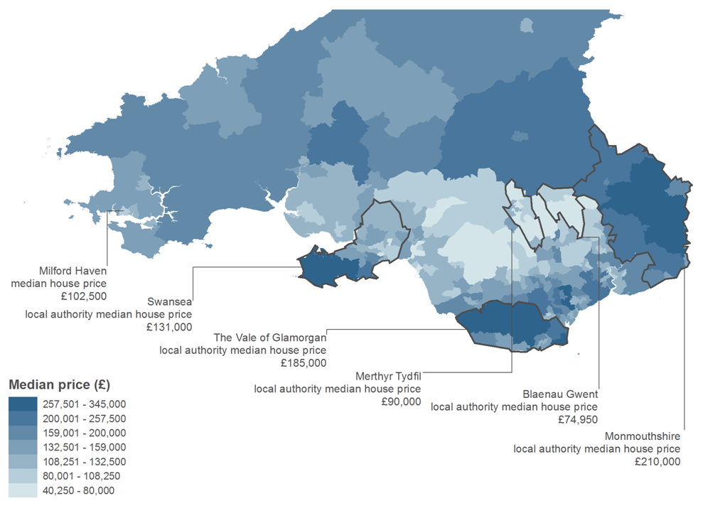 the southern cities of Cardiff and Swansea have neighbouring areas of higher average house prices than most parts of South Wales