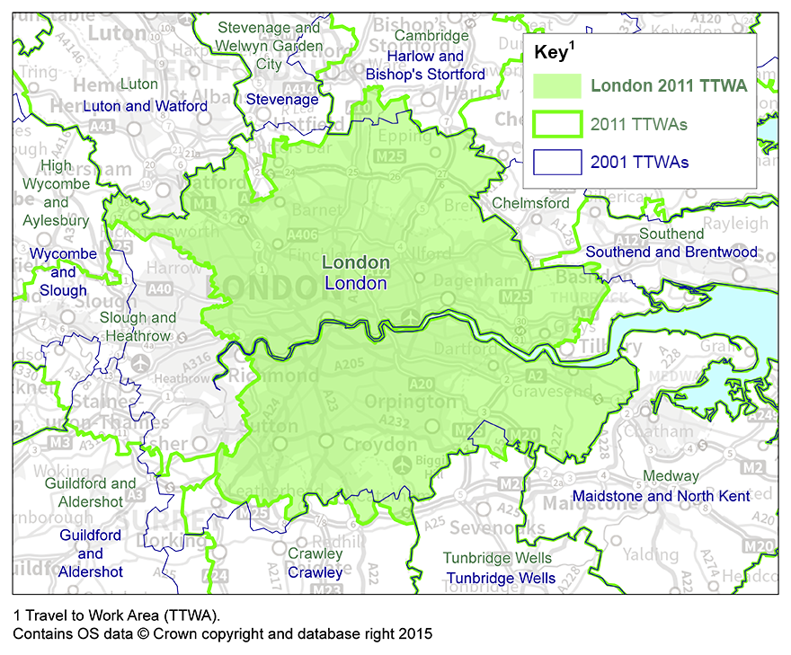 London Travel to Work Area boundary has reduced in size from 2001 to 2011