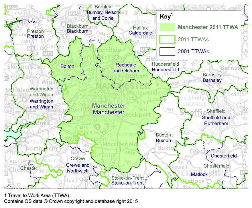 Manchester Travel to Work Area boundary has enlarged from 2001 to 2011