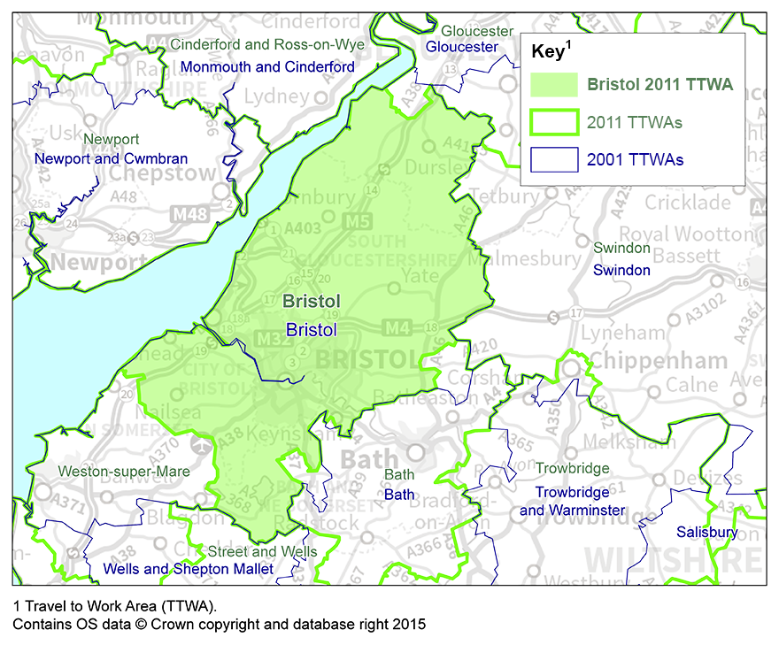 The 2011 Bristol Travel to Work Area has decreased in size from 2001