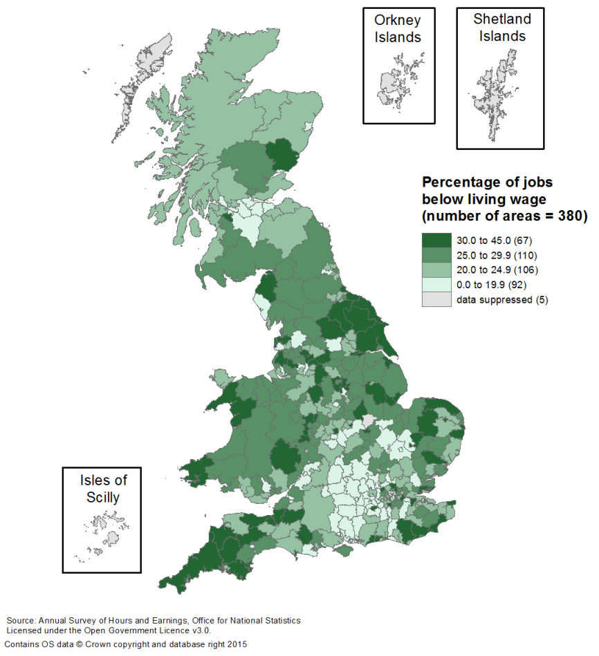 Some areas, even within relatively well-off parts of the country, have high proportions of employee jobs below than the living wage.
