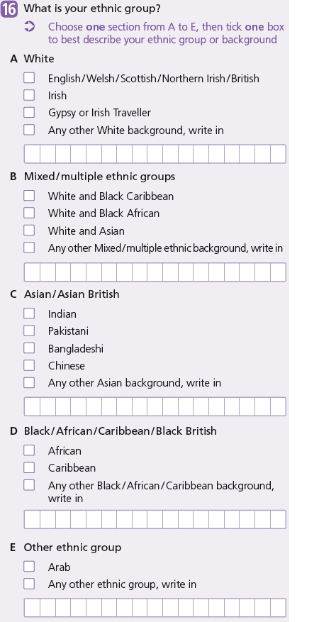 Image showing ethnic group question on 2011 Census
