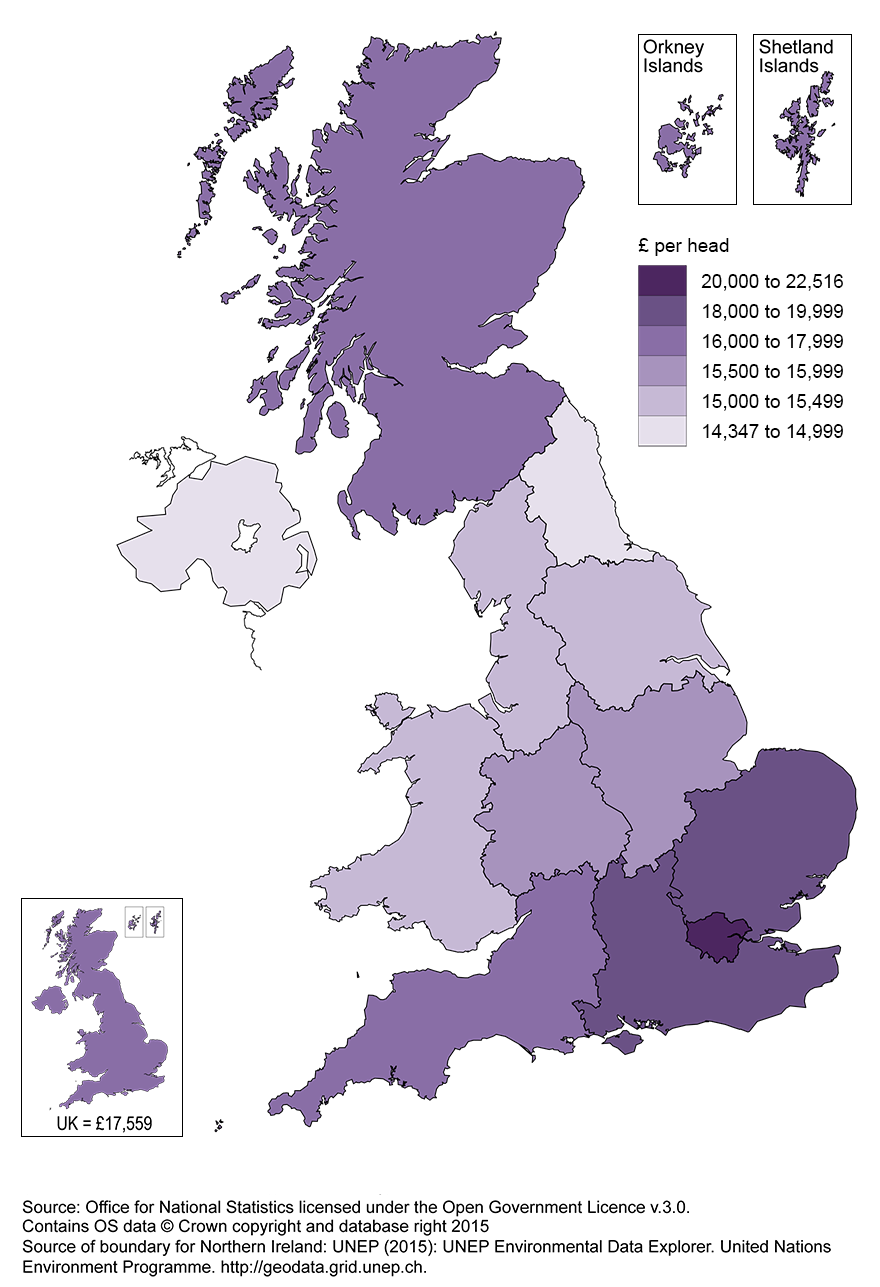 UK Regional gross disposable household income map, 2013