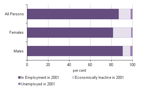 Figure 2: Persons in employment aged 65 to 74 by economic activity in 2001