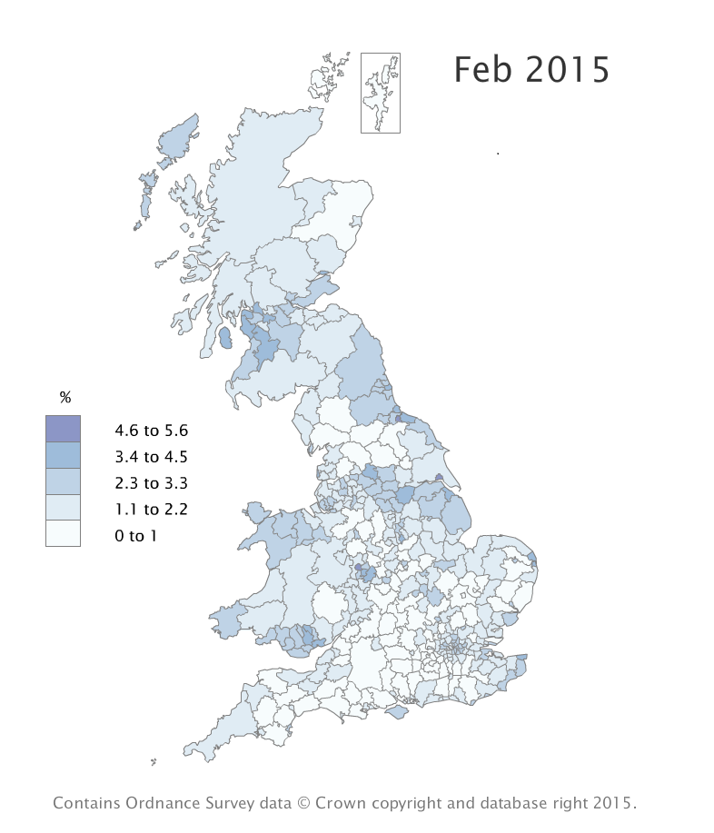 Claimant Count rates by local authority varied between Isles of Scilly 0.4% and Kingston upon Hull, City of 5.0%