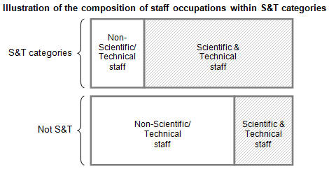 Illustration of the composition of staff occupations within S&T categories