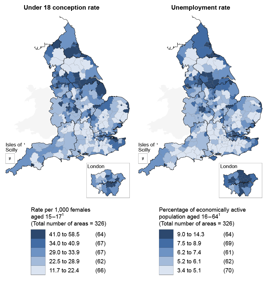 Areas with higher rates of under 18 conceptions generally show higher rates of unemployment in 2009–11