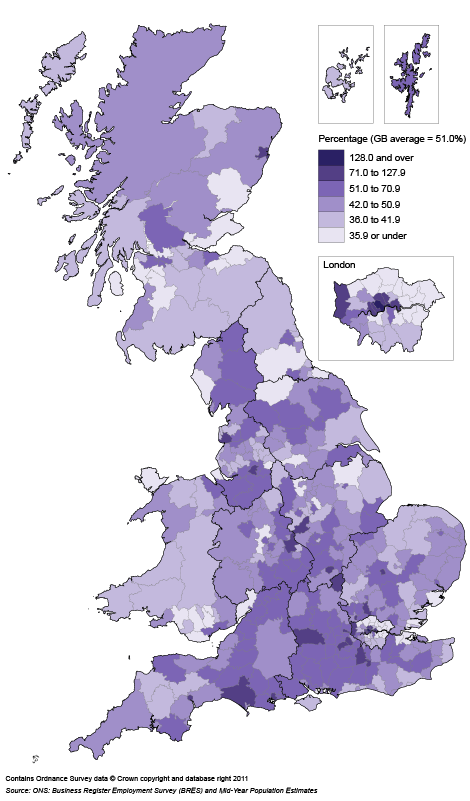 Map 2: Private sector employee density by local authority, 2010