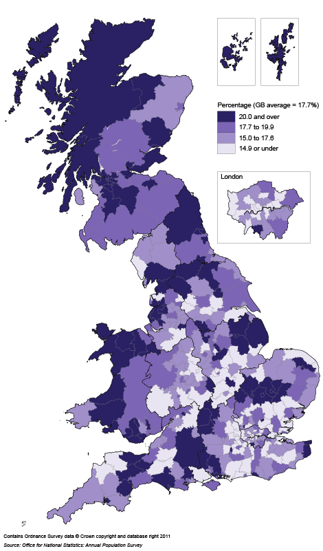 Map 3: Public sector employment rate by local authority, 2010