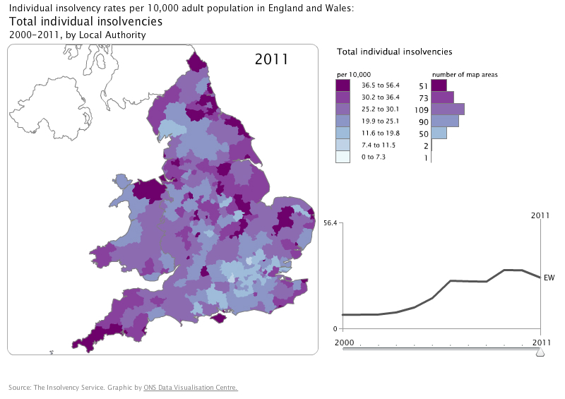 Total individual insolvency rates: by local authority, England and Wales, 2011