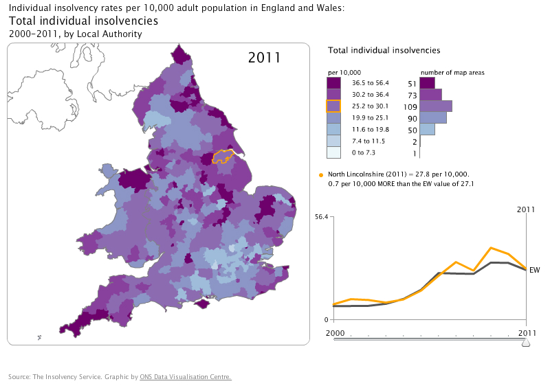 Interactive map, by local authority, England and Wales, 2000–2011