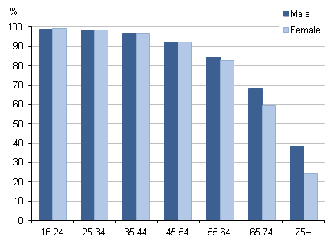 Figure 4: Internet users by age group (years) and sex, 2012 Q3