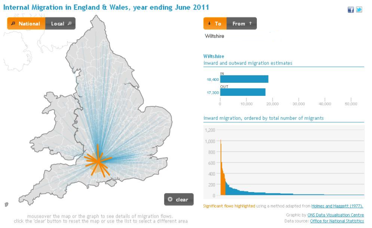 Screenshot of Interactive Map of Internal Migration Flows in England and Wales - Year ending June 2011