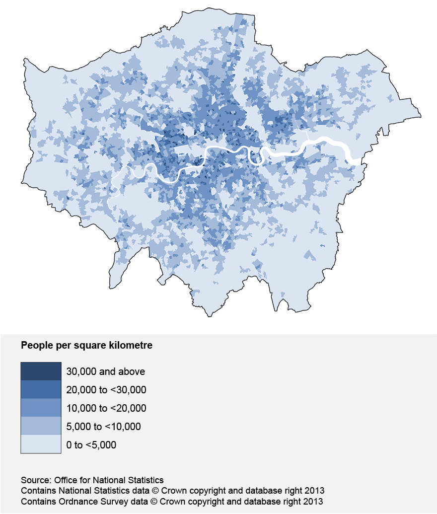 Map showing the population density of the LSOAs in London, mid-2011