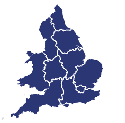graphic map of regions of England and Wales