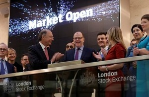 George Freeman opens the market at the London Stock Exchange