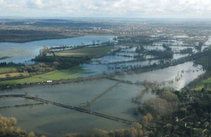 Flooded fields.