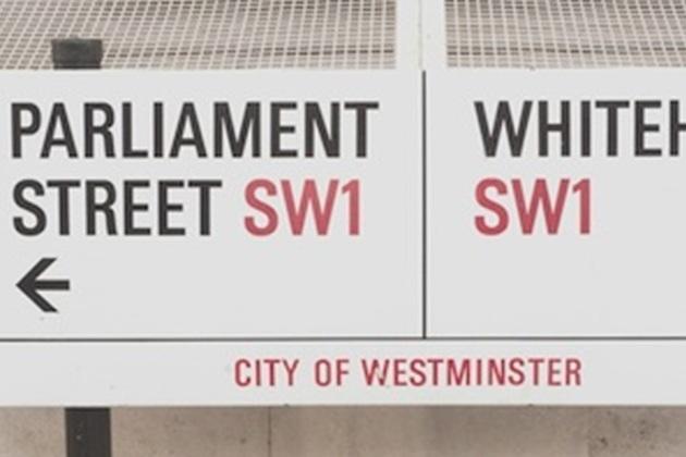 Parliament street sign