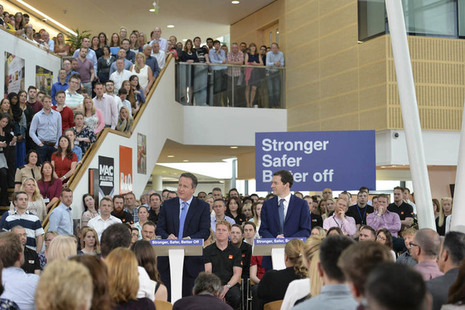 Prime Minister David Cameron and Chancellor of the Exchequer George Osborne at B&Q headquarters talking to staff about the EU referendum.
