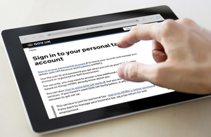 Close up of the personal tax account on a tablet computer