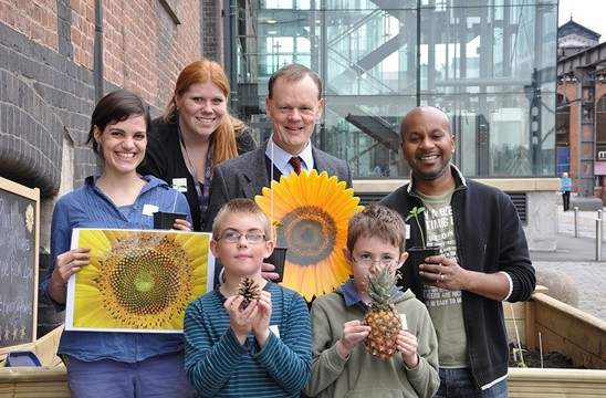 The planting team with MOSI's very own Turing character and master code makers, Rory and Calvin