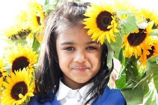 Laaiba Khan (7) from Greenhill Primary School helped to plant sunflowers at MOSI