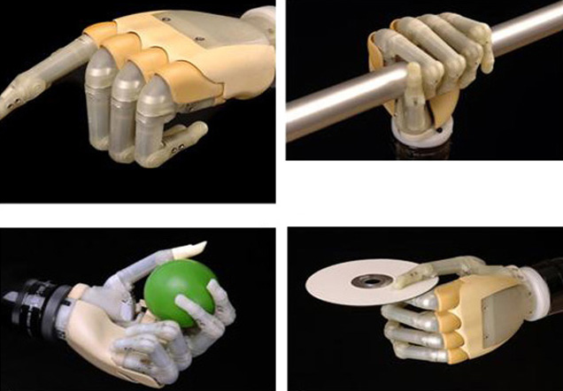 Four examples of the prosthetic hand.