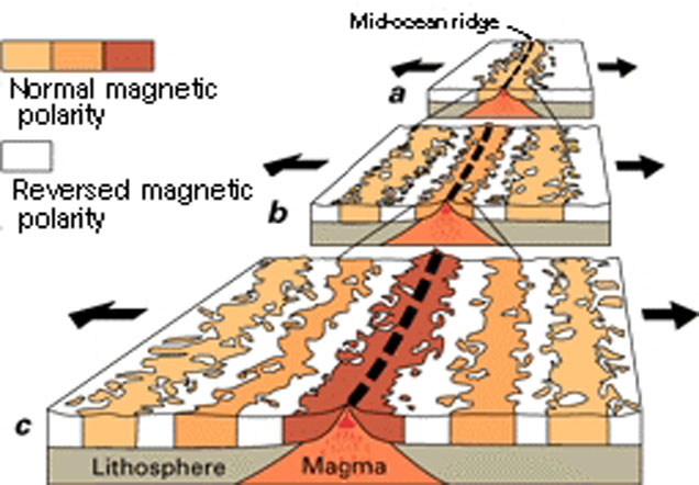 A diagram showing the ocean floor spread away from the magma centre.