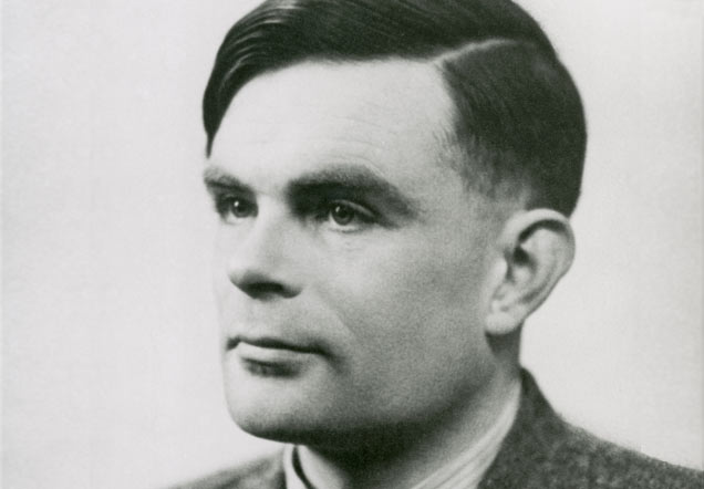 Black-and-white photograph of Alan Turing.