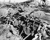 Ralph Wedgwood locomotive damaged after an air raid on 29 April 1942