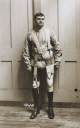 Soldier with prosthetic legs, c 1915-1918.