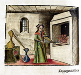 Image:An alchemist heating a sample in his laboratory