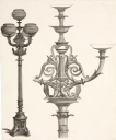 Designs for street lights, probably French, c 1860.