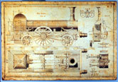 Image: Drawing of Stephenson 'Long Boiler' Locomotive