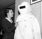 Image:In the 1930's, asbestos suits like this were designed to protect firefighters