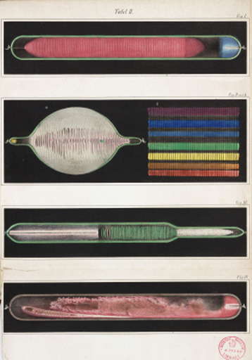 Glowing Geissler tubes, 1858.