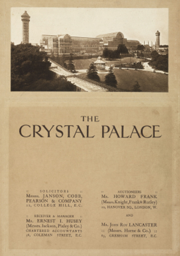 Auction catalogue of the Crystal Palace, Sydenham, 1911.