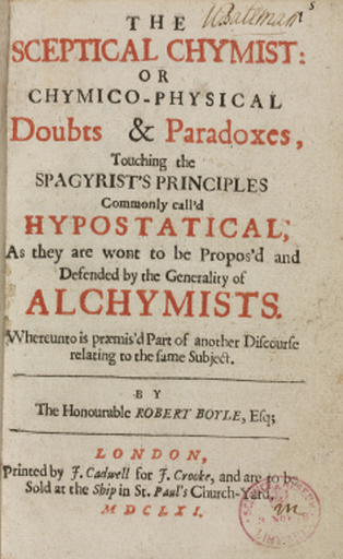 Title page of 'The Sceptical Chymist' by Robert Boyle, c 1661.