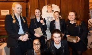 Some of the girls from the Royal Masonic School for Girls who asked Tim Peake questions during the live link up. Credit: RMS/
