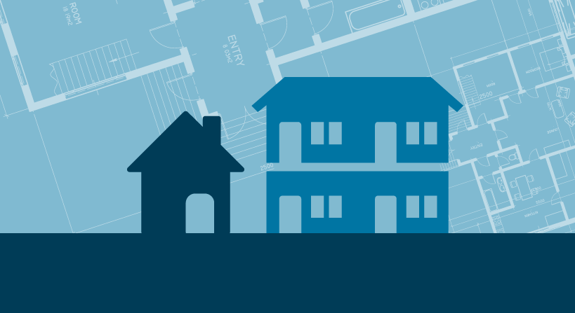Feature image of a house and flats over blueprints