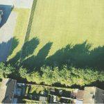Shadows encroach on a field