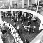 Aerial view of conference exhibition area