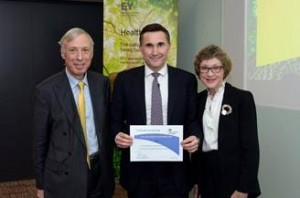 Earl Howe and me presenting the Responsibility Deal certificate to Steve Varley, UK & Ireland Managing Partner for EY.