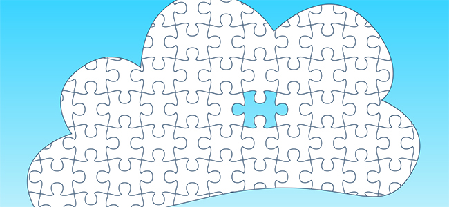 Cloud Computing Jigsaw Concept with missing piece - jigsaw pieces are separate and moveable