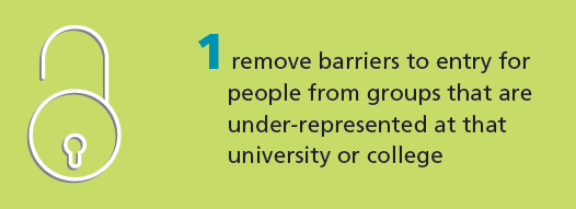 We challenge institutions to remove barriers for people from under-represented groups