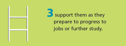 We challenge institutions to support disadvantaged students to progress to work or further study