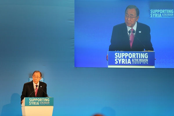 Ban Ki-moon, United Nations Secretary General, addresses the opening plenary at the Supporting Syria and the Region conference. Picture: Adam Brown/Crown Copyright