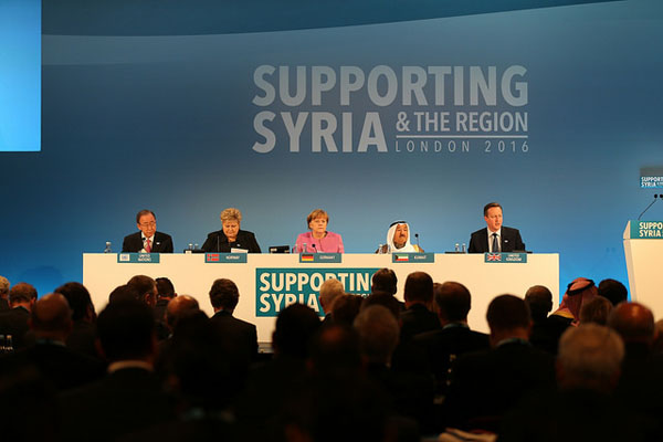 (L-R): Ban Ki-Moon - United Nations Secretary General, Erna Solberg - Prime Minister of Norway, Angela Merkel - Chancellor of Germany, Sheikh Sabah IV Ahmad Al-Jaber Al-Sabah - Emir of Kuwait and David Cameron - UK Prime Minister co-host the opening plenary at the Supporting Syria and the Region conference. Picture: Adam Brown/Crown Copyright