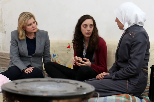 Justine Greening with Syrian refugees